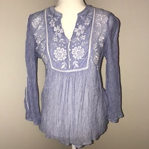 Maurices's blue and white blouse